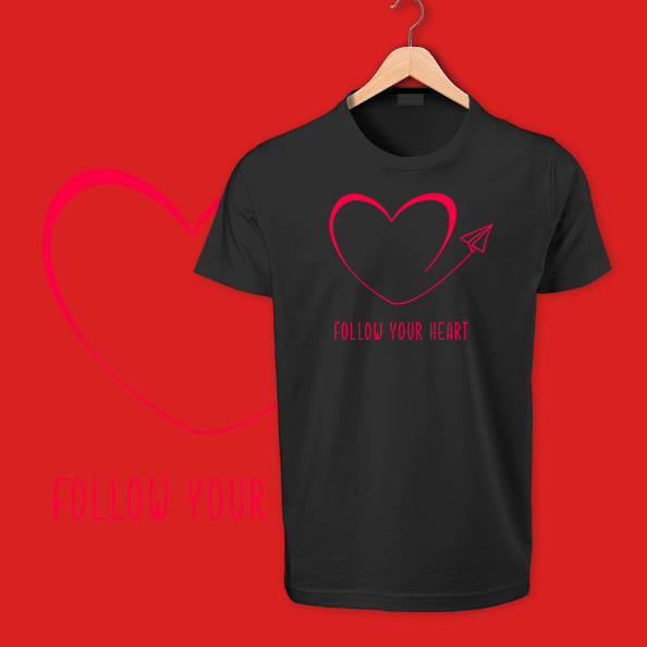 follow your heart black tshirts