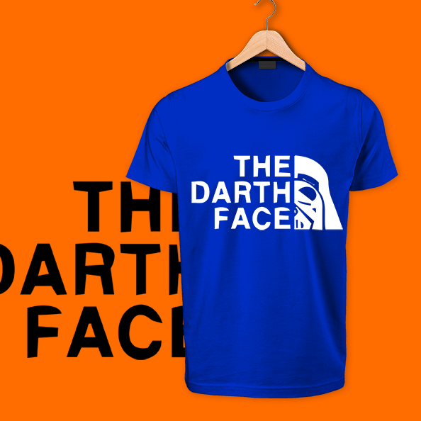 The Death Face Blue round neck cotton tshirt