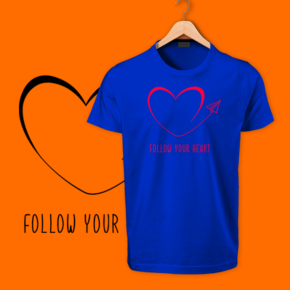 follow your heart blue tshirts