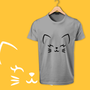 cute cat gray tshirt