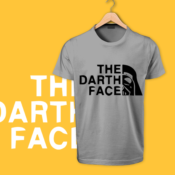 The Death Face gray round neck cotton tshirt