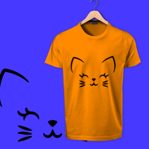 cute cat orange tshirt