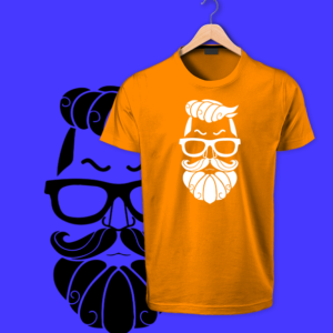 Beard man orange tshirts