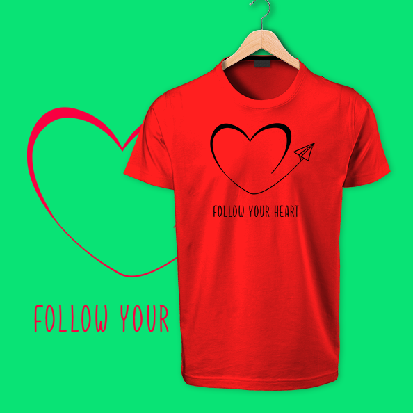 follow your heart red tshirts