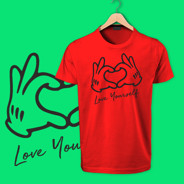 Love Yourself sky red tshirt