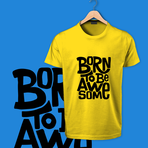 Born to Be Awesome yellow tshirt