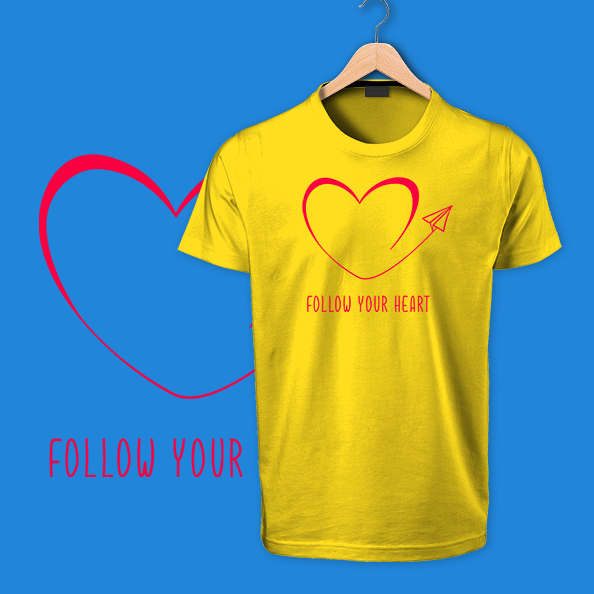 follow your heart yellow tshirts
